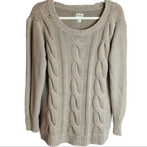 Hatley Thick Cable Knit Neutral Toned Sweater L